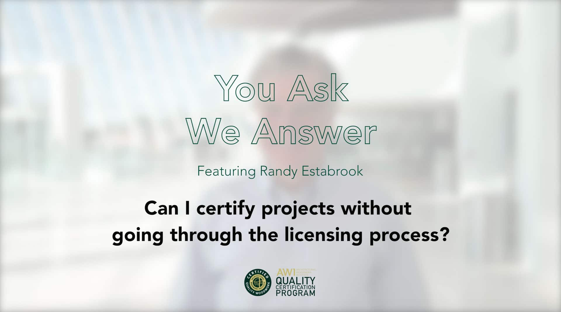 Certify projects without license AWI QCP